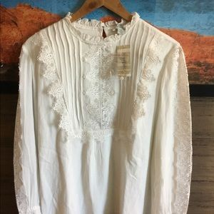 Sundance ivory equestrian style lace blouse NWT